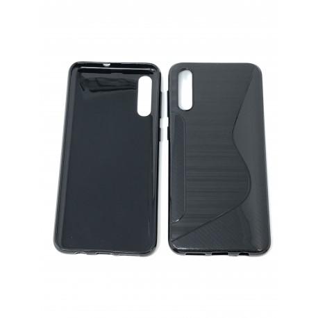 Coque Silicone S-Line NOIRE pour SAMSUNG Galaxy A50 - A505F - Présentation avant / arrière